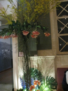 Interesting use of amaryllis at Flora in Winter at the Worcester, MA Art Museum