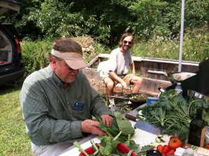 Bob Halstead from CCGA and Bridgeport preparing a meal from locally harvested community gardens.