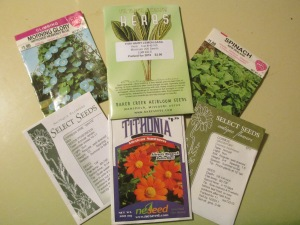 Seed packets from some CT seed companies. Photo by DMP