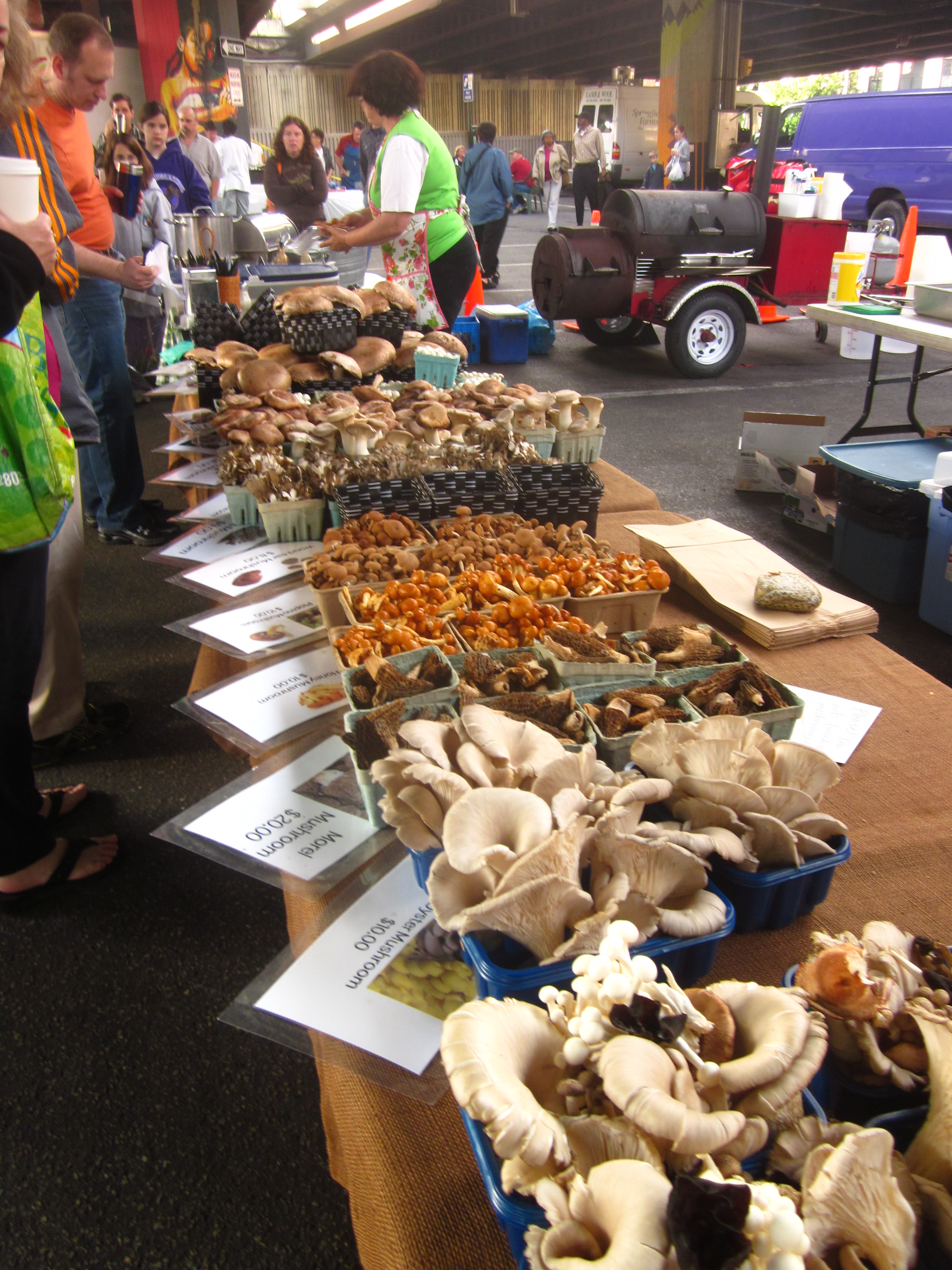 Mushrooms for sale at Farmer's Market, photo by C.Quish