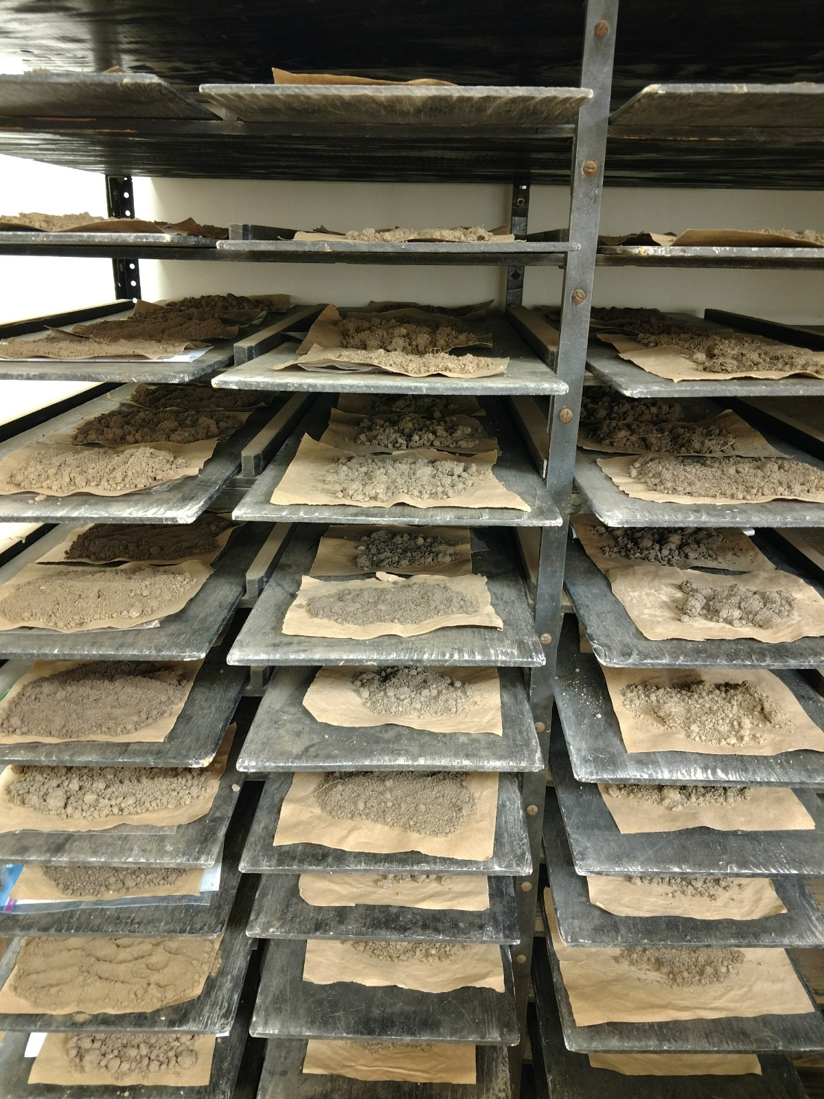 1. Spread soils on drying rack