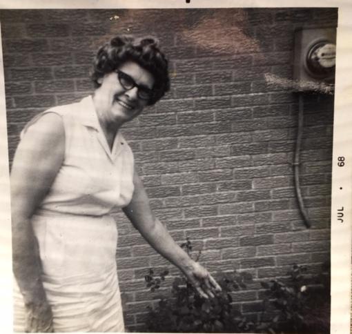 Grandma & roses 1968