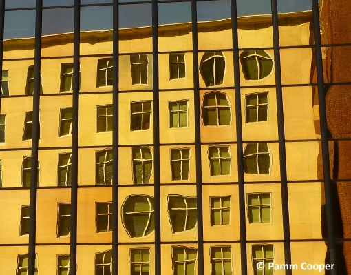 gold building reflections downtown Hartford pamm Cooper photo