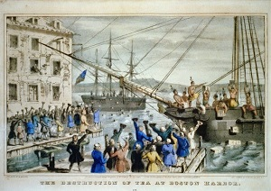 Destruction-of-tea-at-Boston-Harbor-lithograph-by-N_-Currier-circa-1846