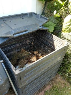 Stacking compost bin open